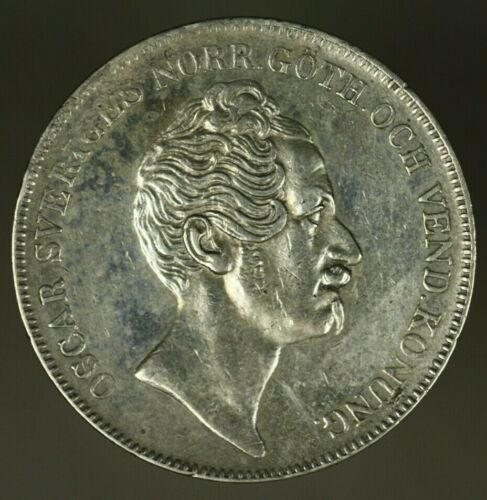 Sweden Silver Riksdaler 1855  XF/AU cleaned     A1519