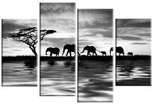 ELEPHANTS SUNSET ON WATER GREY CANVAS PICTURE WALL ART SPLIT MULTI 4 PANEL 100cm