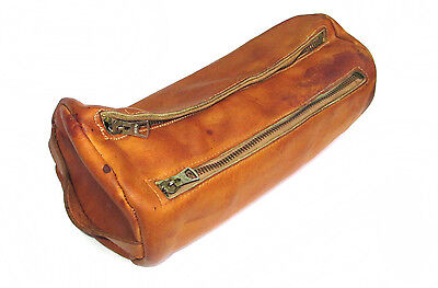 Vintage Leather Dopp Kit Mens Shaving Bag Brown Tan Round Retro Travel Case