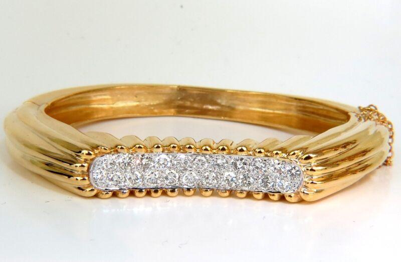 █$14,000 2.30ct Inverted Arch Grilled Wave Retro 14kt Diamonds Bangle Bracelet █