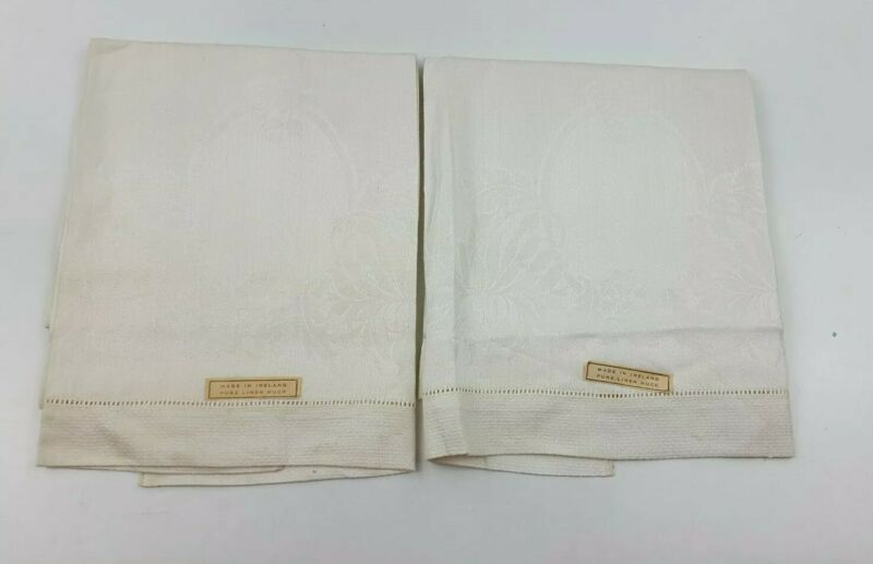Vintage Irish Damask Huck Hand Towel Set of 2 Unused with Tags