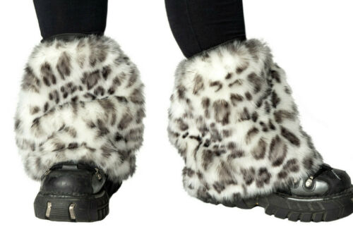 PAWSTAR Snow Leopard Pony Puff Leg Warmer white black cat spot faux [LESN]2596