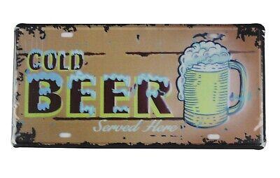 outdoor house decor Cold Beer bar club pub tin sign car plate