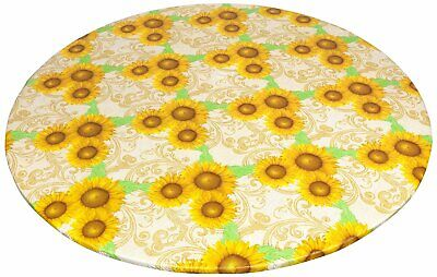 Round Fitted Tablecloth Vinyl Flannel Backed w/ Elastic Sunflower Table Cover](Vinyl Table Cover)