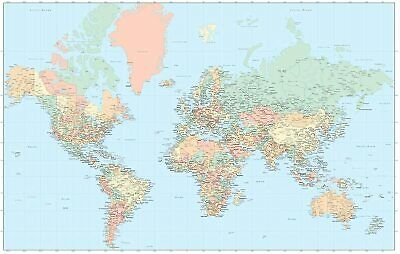 """Advantus Laminated World Map (97644) - 32.5""""X50"""""""