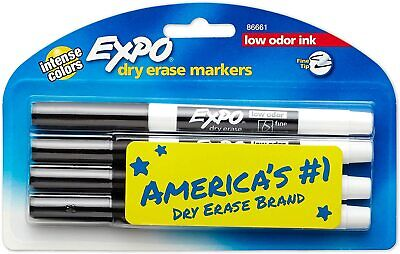 Expo Low-odor Dry Erase Markers Fine Point Black 86661 4-count