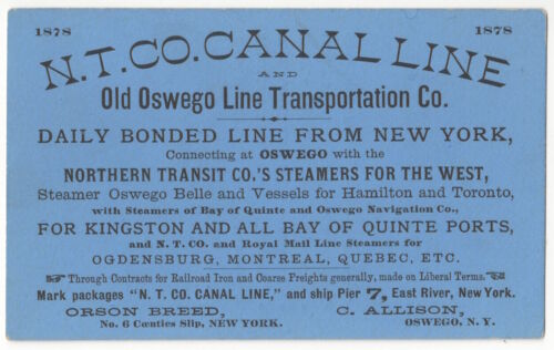 1878 Shipping Trade Card - New York Canal Line, Old Oswego Steamers, Ship