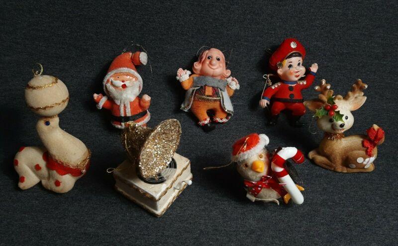 Lot Of 7 Vintage Plastic Flocked Christmas Ornaments Santa, Seal, Deer, more