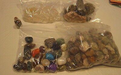 large lot raw polished gemstones rocks collection quartz samples gem loose 5 LBS
