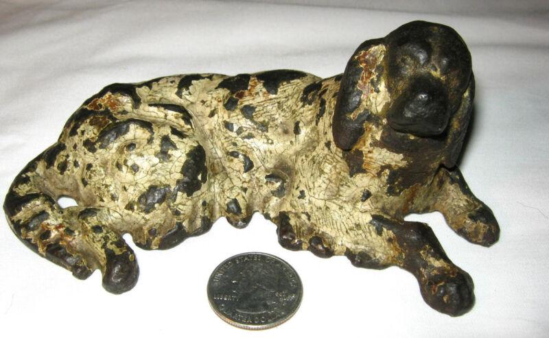 ANTIQUE VICTORIAN CAST IRON STAFFORDSHIRE SPANIEL DOG ART STATUE PAPERWEIGHT