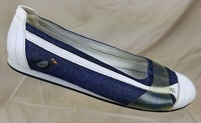 ROYAL ELASTICS Women's Ballet Flats Blue Denim White Leather Cap Toe Shoes Sz -