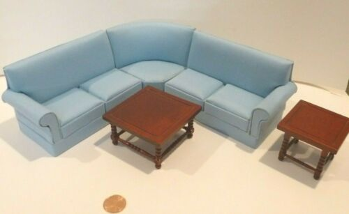 BESPAQ DOLLHOUSE MINIATURE SECTIONAL W/2 TABLES     SLIGHT IMPERFECTION
