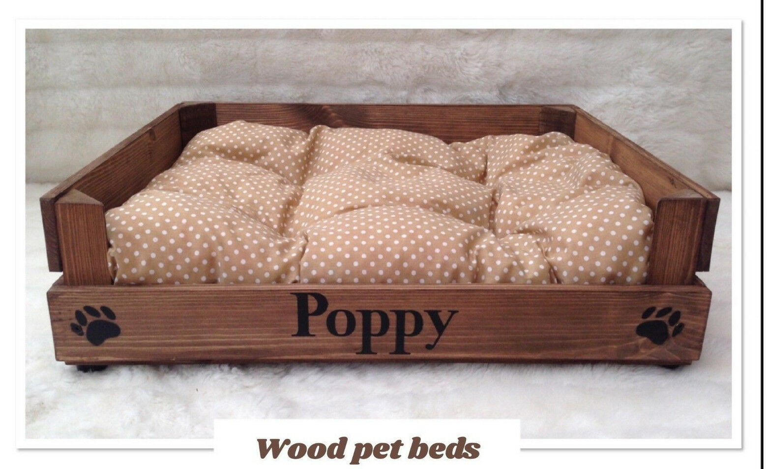 RUSTIC WOOD PET BED CAN BE PERSONALIZED FOR YOUR PUPPY CAT P