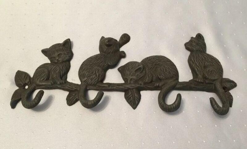 "Cute Cast Iron KITTY CATS 4 Tail Hook Wall Rack For Towel Coat Keys Purse 13"""