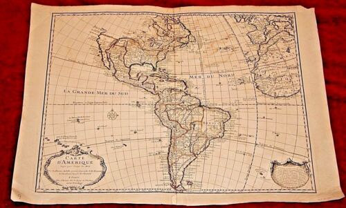 Early Hand Colored 18th Century Map of America & Africa