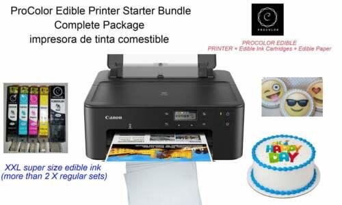 ProColor Edible Printer Bundle with white printer XXL Edible Cartridges Paper