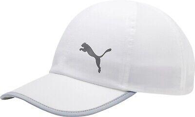 Puma Essential Running Cap White Built-In Sweatband Curved Peak Gym Training Hat