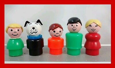 Vintage Fisher Price Little People House Family plastic figures lot Dog camper