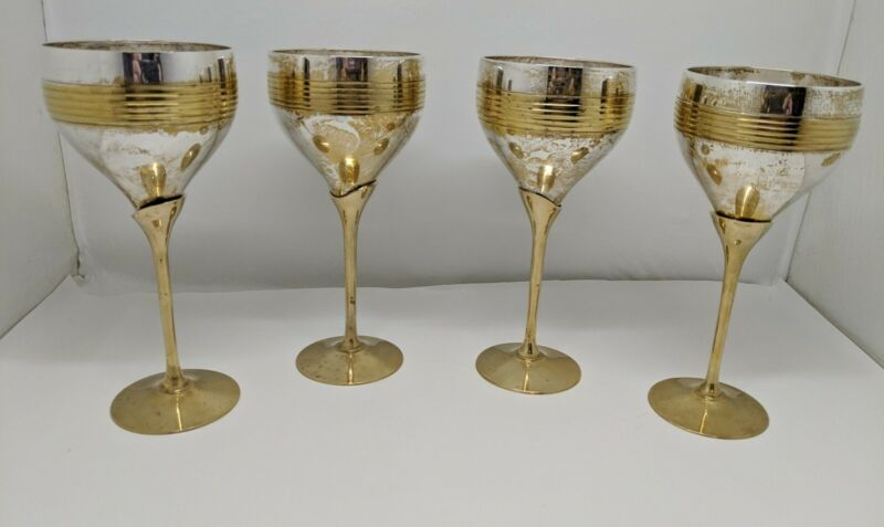 Vintage Brass & Silver Plate Wine Glasses India  1940