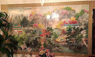 Oriental Landscape River Boat Original Painting Asian 3.5'x6.5' L.A,Cal. pu/del.
