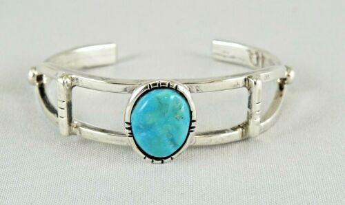 Henry Rosetta Kewa Santo Domingo Pueblo Turquoise & Sterling Silver Bracelet