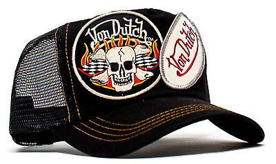 VON van DUTCH MESH TRUCKER CAP [2 PATCH SKULL BLACK] HUT MÜTZE BASECAP BASE  Von Patch Trucker Hut