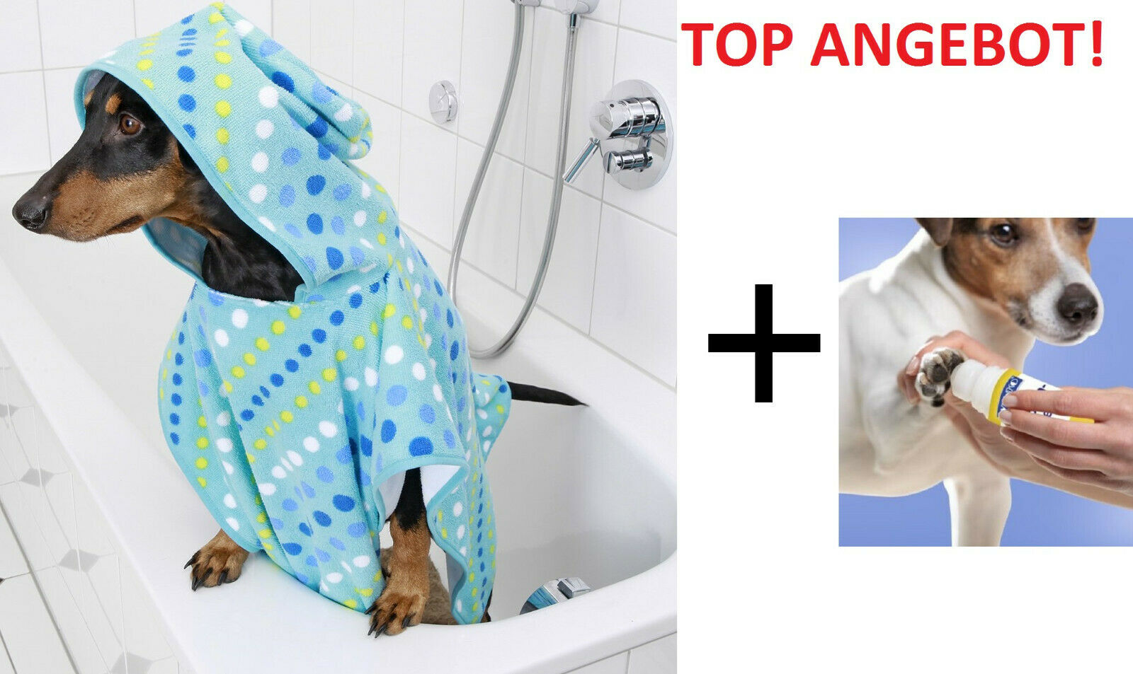 Wenko Trocken Cape Hunde + Pfotenpflege Roll on 50ml Duschtuch Hunde Handtuch