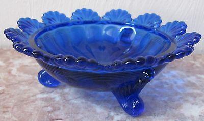 Berry Bowl - 3 Footed Klondyke Pattern - Cobalt Blue Glass - Mosser USA