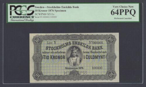 Sweden Stockholms Enskilda Bank 10 kronor 1876 PS511s Litt Y Specimen UNC