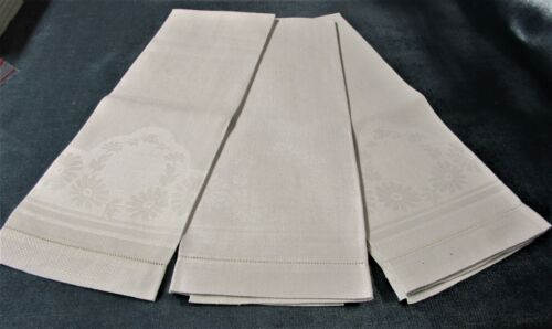 Antique 3 Matched Nubby Linen Damask Towels Daisies Hemstitched Never Used?