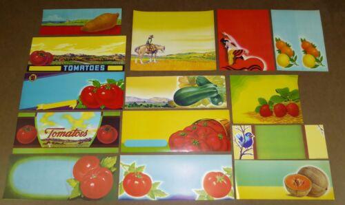 14 FRUIT BOX CRATE LABELS VINTAGE LOT ORIGINAL STOCK 1930S 1940S 1950S  DESIGN