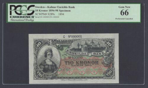 Sweden Enskilda Bank 10 kronor 1894 PS289s Specimen Uncirculated