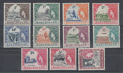 Basutoland Sc 46-56 MLH. 1954 QEII bicolor definitives, complete & almost VF