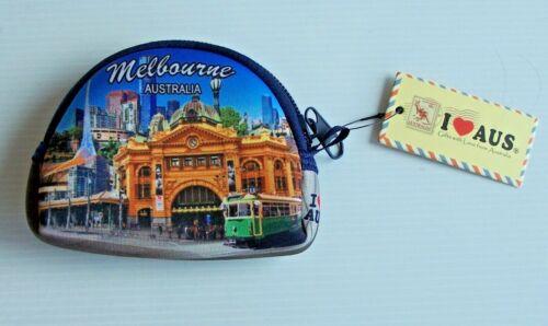 NICE MELBOURNE VICTORIA ILLUSTRATED SOUVENIR ZIPPERED COIN PURSE MONEY BAG POUCH