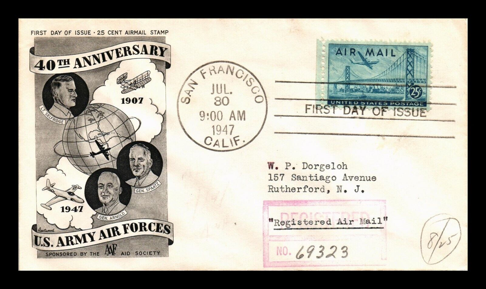DR JIM STAMPS US ARMY AIR FORCES REGISTERED FDC AIR MAIL COVER SCOTT C36 - $1.32