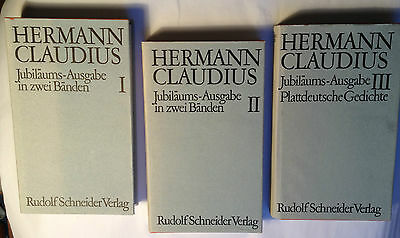 3 Bände Hermann CLAUDIUS Jubiläumsausgabe mit Original-Signatur / teils Platt