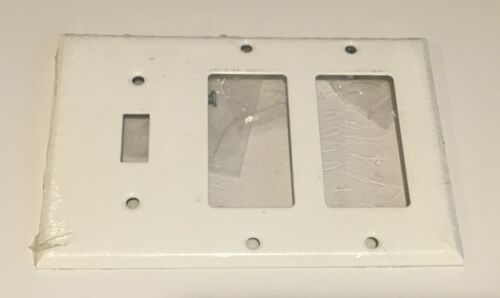 3 Gang Toggle Double Rocker Combination Wall Plate Painted Smooth White Metal