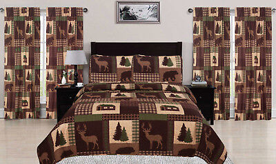 Rustic Lodge Deer - King, Queen, or Twin Quilt Set Rustic Cabin Lodge Deer Bear Coverlet Bedspread