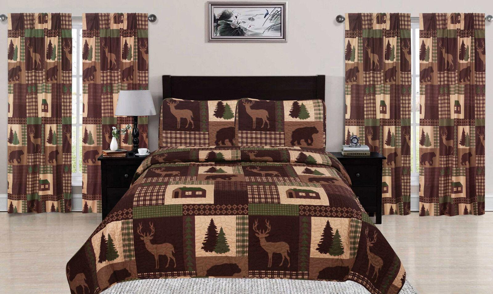 King, Queen, or Twin Quilt Set Rustic Cabin Lodge Deer Bear