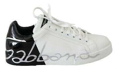DOLCE & GABBANA Shoes Sneakers White Leather Black Mens Casual Sport EU41 / US8