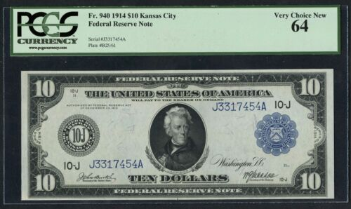 Fr940 $10 1940 Series Kansas City Frn Pcgs 64 Very Choice New Hw2116