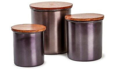 Black Canister Set With Wood Lids - 3 pcs Airtight Copper St