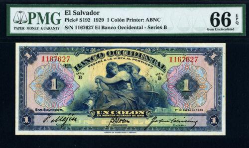 El Salvador 1929 One Colon Pick-S192 GEM UNC PMG 66 EPQ HIGHEST GRADE !