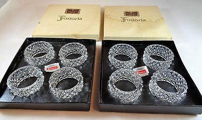 FOSTORIA AMERICAN LEAD CRYSTAL NAPKIN RINGS IN THE DIAMOND CUT PATTERN SET OF 8