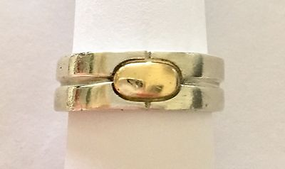 Vintage Bayanihan (925) Sterling Silver & (18K) Gold Button Ring Size 11 - NR!