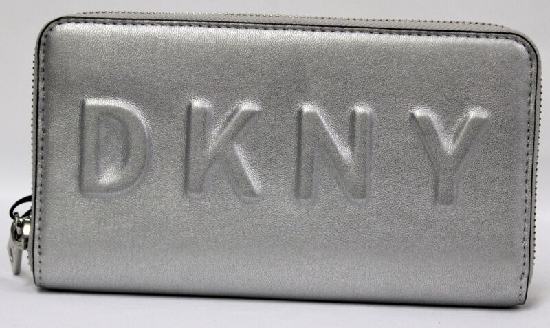 DKNY Tilly Large Zip Around Silver Wallet