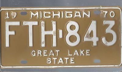 Vintage 1970 MICHIGAN CAR  license plate FTH-843