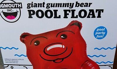 GIANT RED GUMMY BEAR Pool Float Inflatable, Big Mouth, Water, Swimming !! (Inflatable Bear)