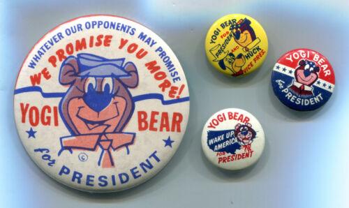 4 Yogi Bear for President Pinback Buttons