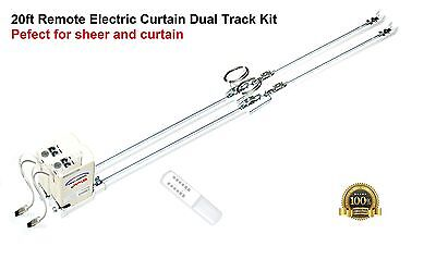 20' Remote Electric Motorized Window Curtain Dual Track for Sheers and Draperies